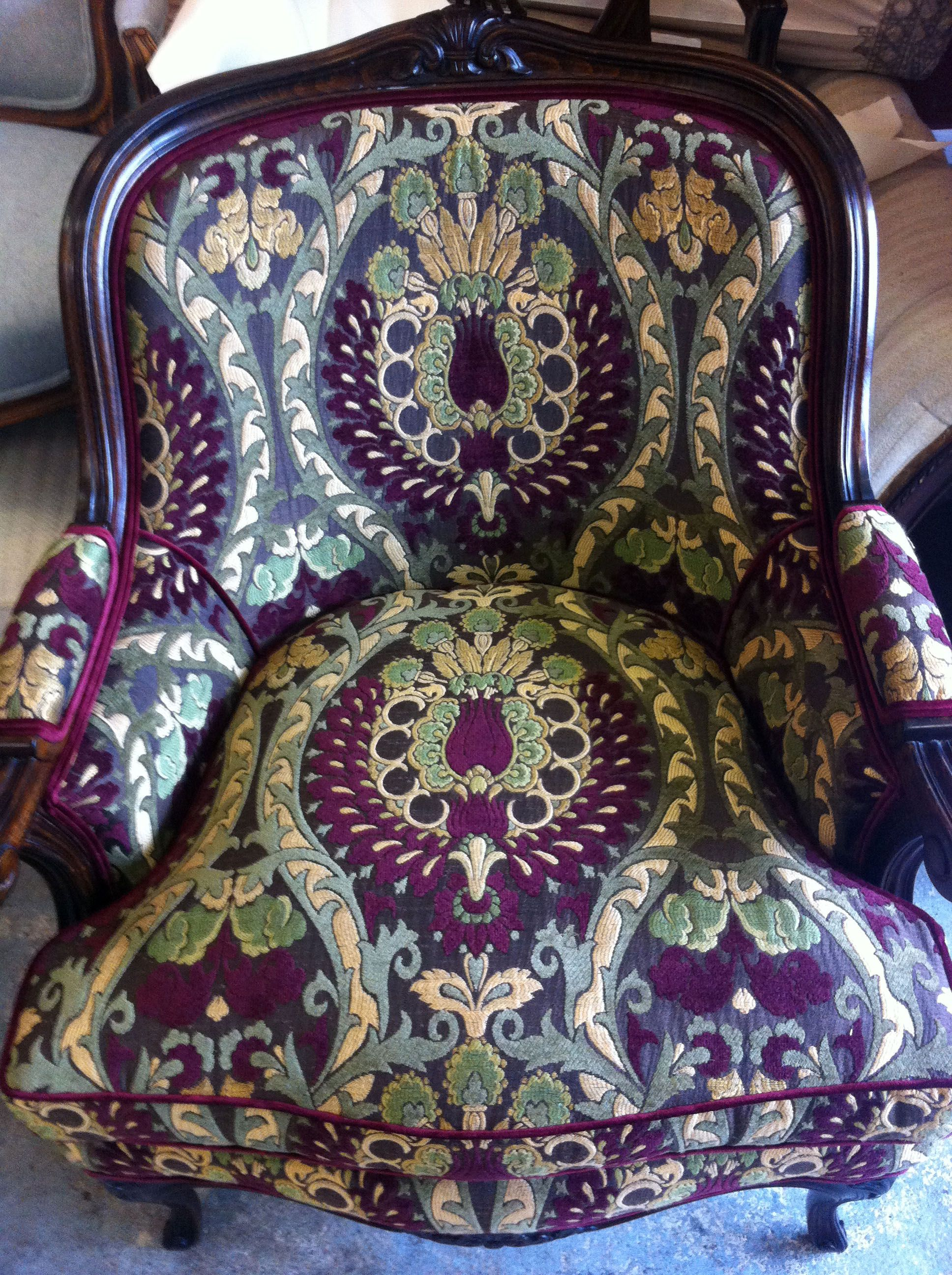 Damask Armchair upholstered by London Upholsterers Fabric Jim