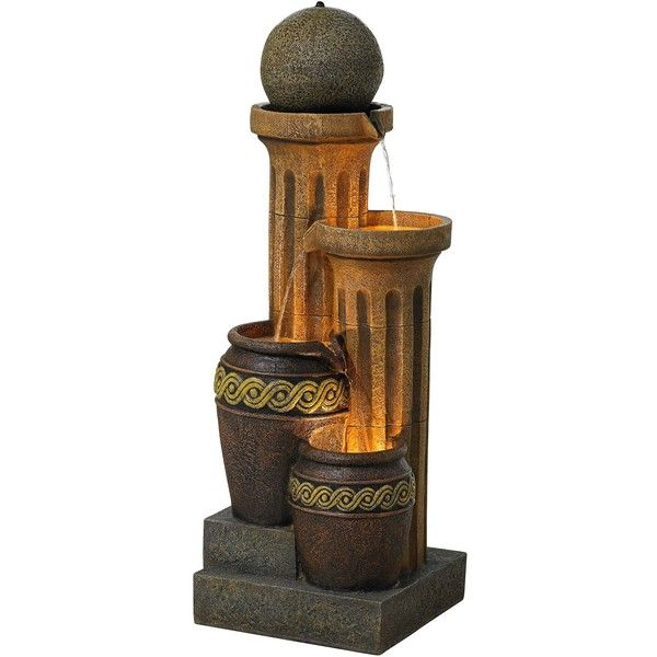 Pacific Coast Sphere Jugs and Column Indoor-Outdoor Fountain with ...