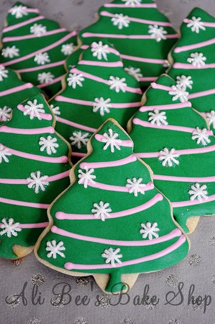 Christmas Tree Cookies - a use for those snowflake edible decorations!