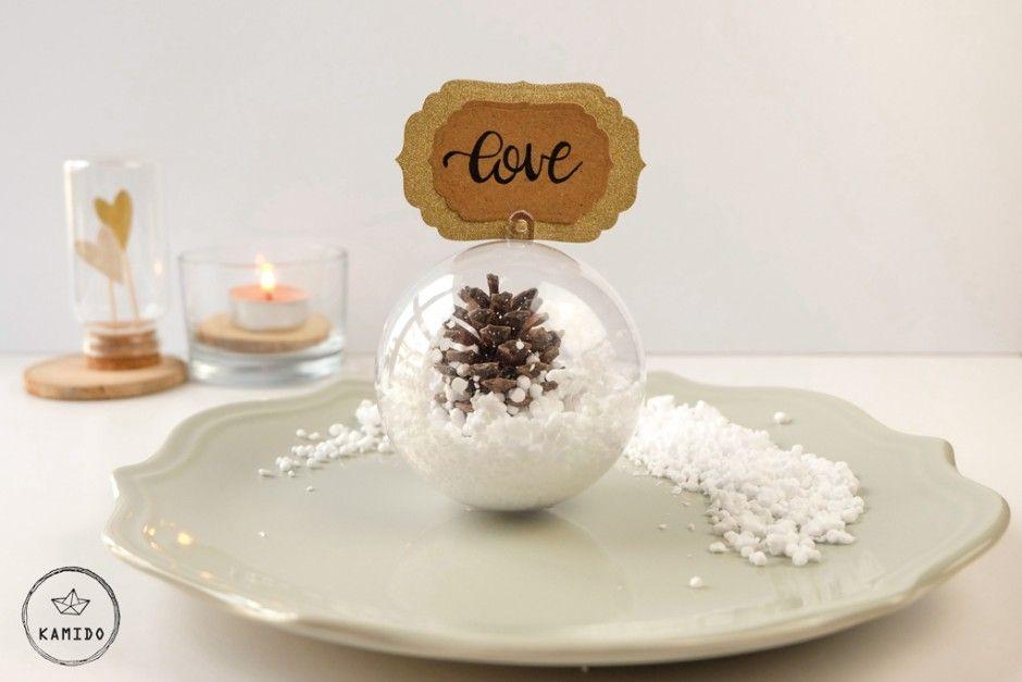 Segnaposto Matrimonio Invernale.Segnaposto Invernale Diy Palla Di Neve Segnaposto La Tavola Di