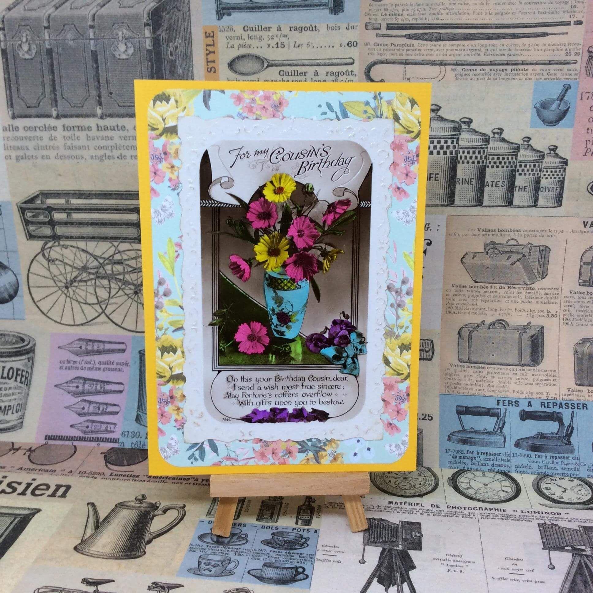"Vintage ""Cousin"" birthday card nm080"