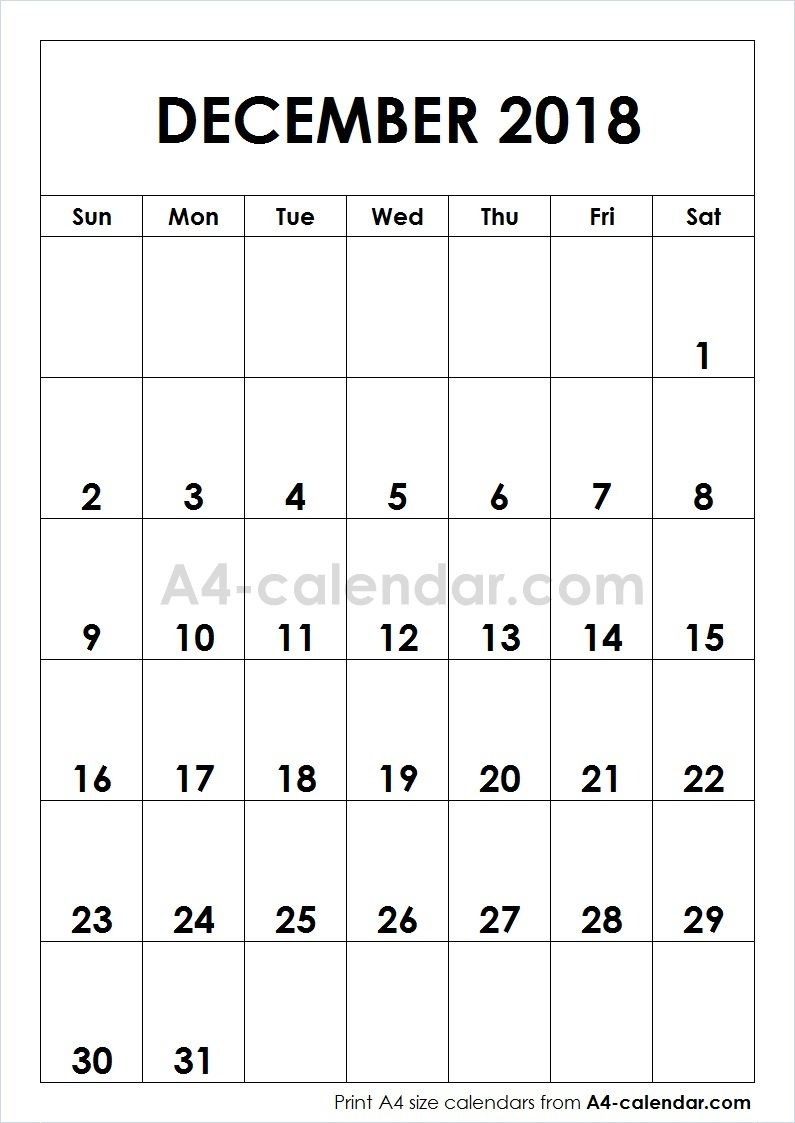 graphic about Printfree Com Calender called Print Absolutely free Blank December 2018 A4 Calendar versus www.a4