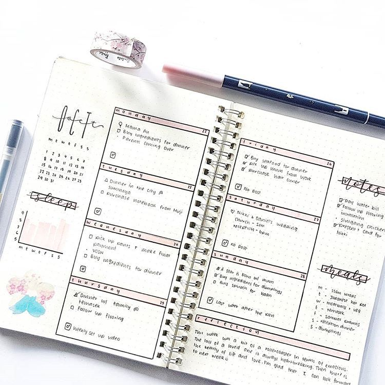 30 Amazing Bullet Journal Weekly Spreads You'll Want To Steal - TheFab20s #examplesofgoals