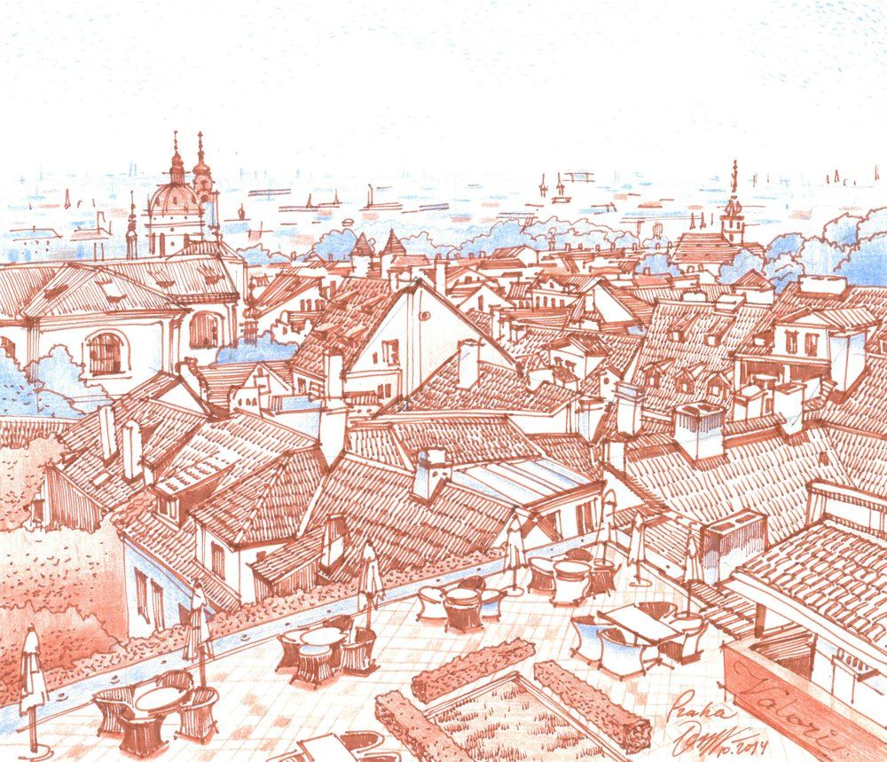 Panorama Drawing City Skyline Markers Art Pencil Prague My Architecture Drawings Travel Sketches More Find Architecture Drawing Drawings Architecture Sketch
