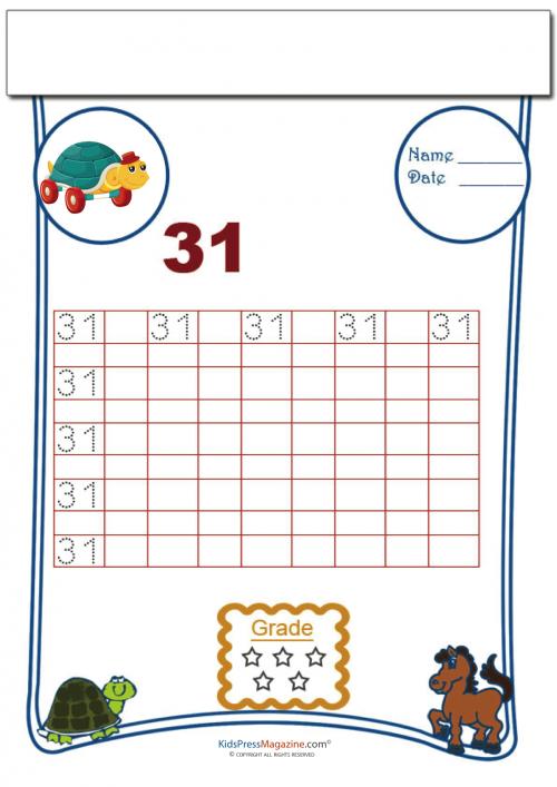 Printing Number 31 | Number worksheets, Writing numbers ...