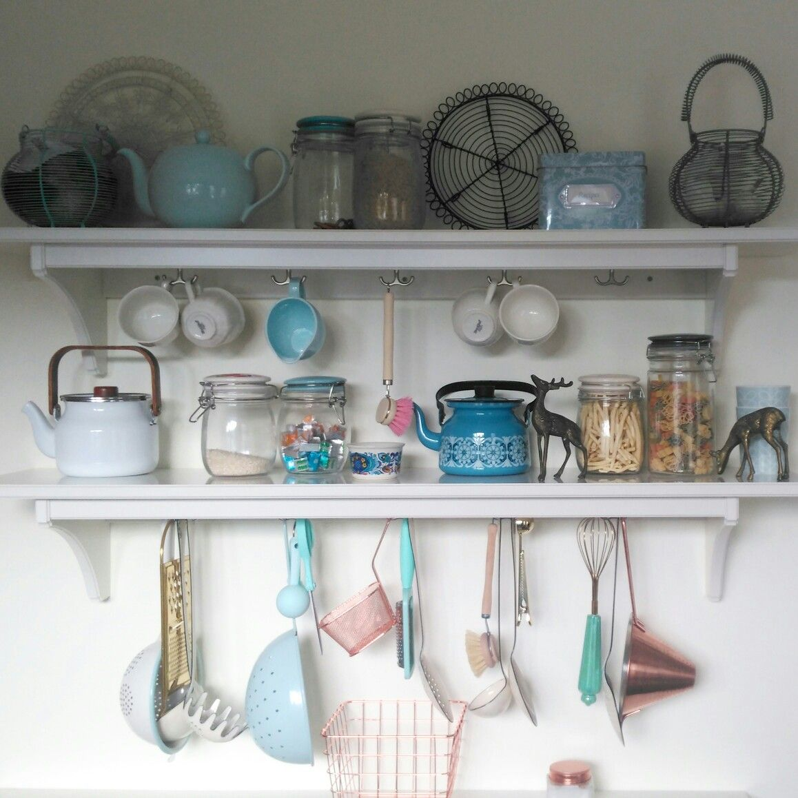 My Ikea Stenstorp kitchen shelves with pretty copper, duck egg ...