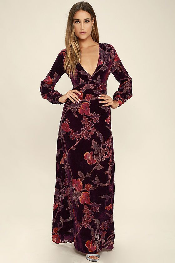 d6813e9ae03 The Practical Magic Burgundy Velvet Floral Print Maxi Dress will have your  admirers instantly enchanted! Rich burgundy velvet fabric