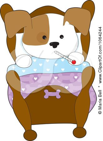 Clipart Sick Puppy Resting In Bed - Royalty Free Vector Illustration ...