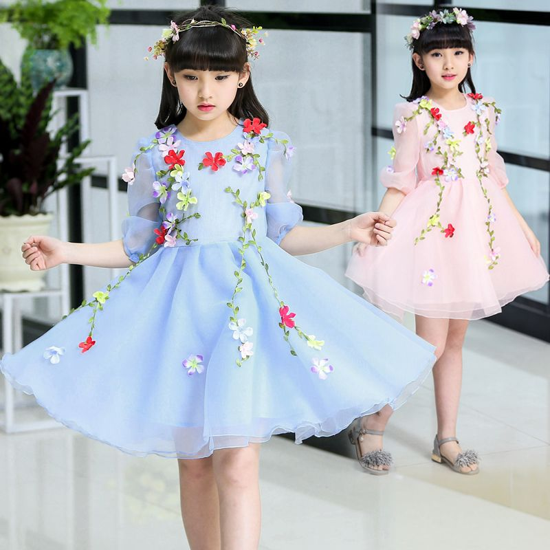 094bfa7b650f3 korean kids clothes children princess dress summer baby mesh floral ...