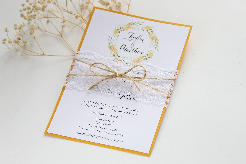 Floral Wedding Invitation, Rustic Wedding Invitation, Lace Wedding ...