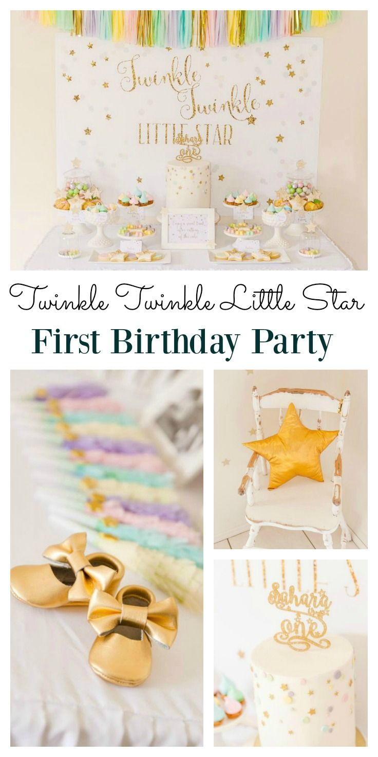 Dreamy Twinkle Twinkle Little Star Party Girl Birthday Themes Star Birthday Party First Birthday Themes