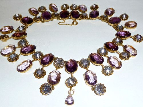 Sold - Spectacular Large Very RARE Very Old Amethyst Paste Crystal Collar Necklace   eBay