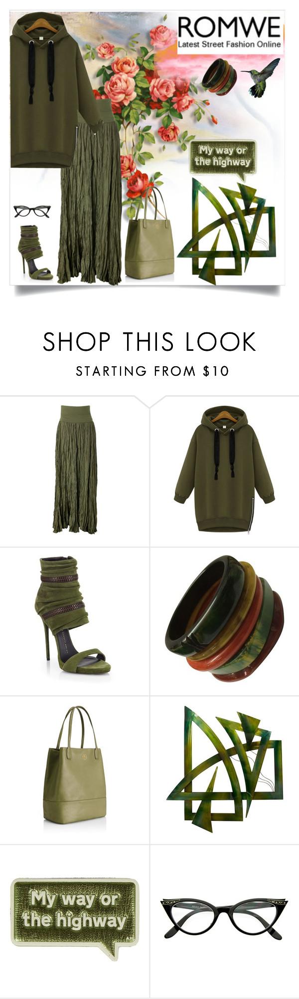 """Green Sweatshirt by ROMWE"" by bhattasharmaluna ❤ liked on Polyvore featuring mode, Donna Karan, Giuseppe Zanotti, Tory Burch, Universal Lighting and Decor, Anya Hindmarch, GREEN, romwe et Sweatshirt"