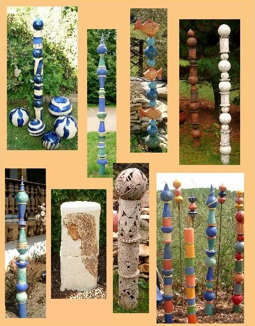 keramik stele,dekoration,getöpfert,handarbeit,garten,rosenkugel, Gartengestaltung