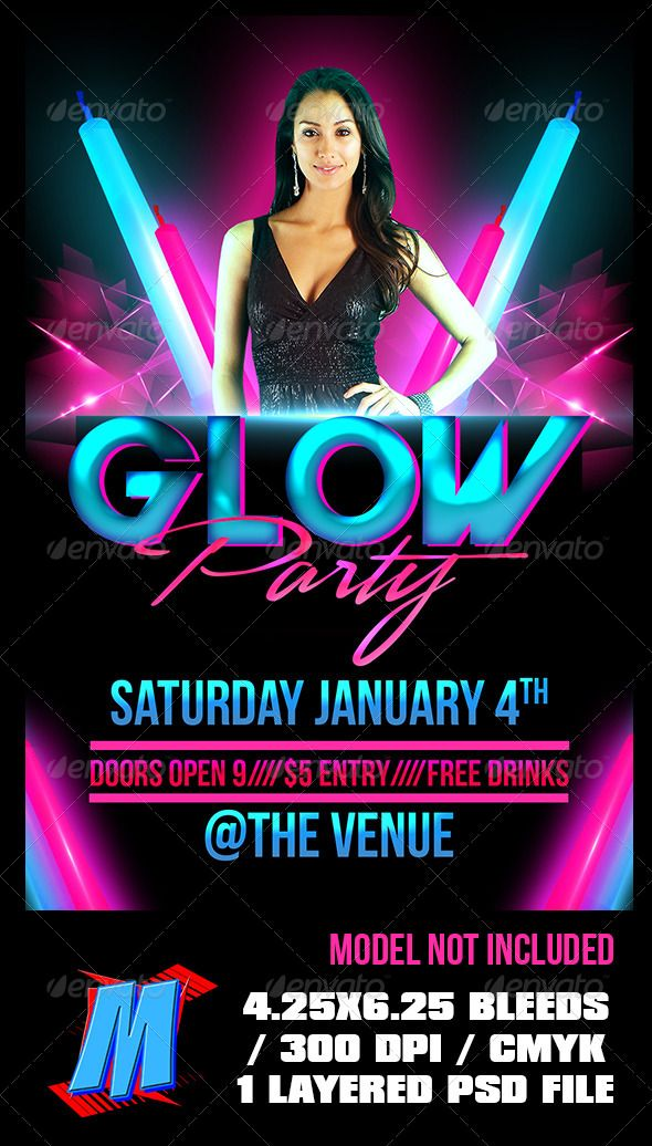 Glow Party Flyer Template Party flyer, Flyer template and Template - club flyer background