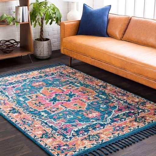 Bungalow Rose Denya Vintage Floral Teal Orange Area Rug Area Rugs Pink Area Rug Orange Area Rug
