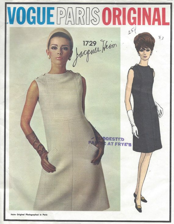 a3d021a994 1960s Vintage VOGUE Sewing Pattern B34 Dress (1100) By JACQUES HEIM ...