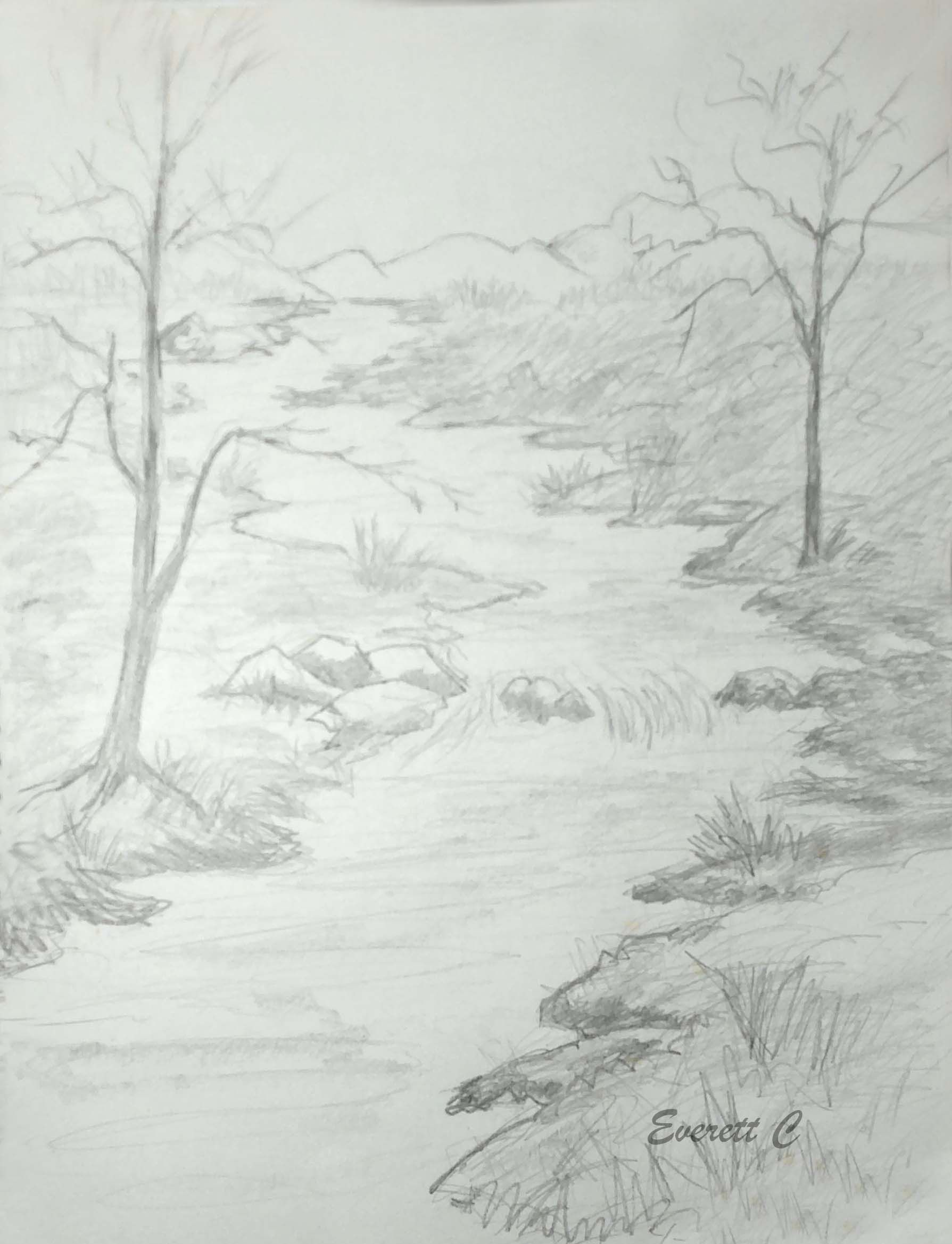 Drawing no 313 mountain stream pencil re just draw one thing today
