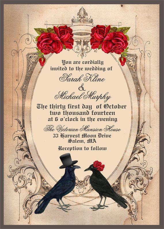Halloween Wedding Invitation Goth Wedding Invite Crow Wedding Invitation Raven Wedding Invitation Printable Wedding Invite And Rsvp Halloween Invitations Printable Wedding Invitations Halloween Wedding