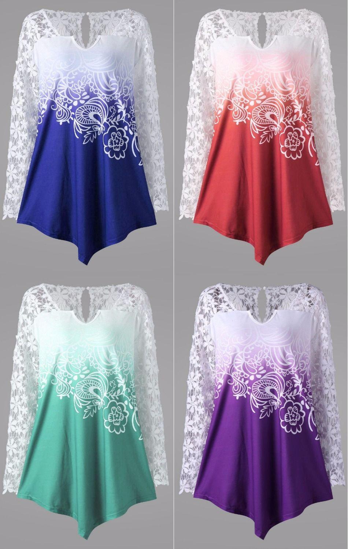 Curvy Fashion| $12.89 | Plus Size Lace Yoke Ombre Top ...