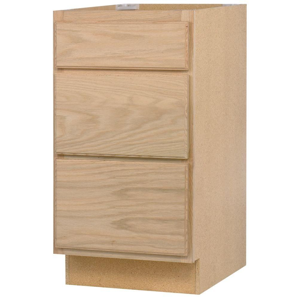 24x34 5x24 In Base Cabinet With 3 Drawers In Unfinished Oak Db24ohd The Home Depot Assembled Kitchen Cabinets Unfinished Kitchen Cabinets Base Cabinets