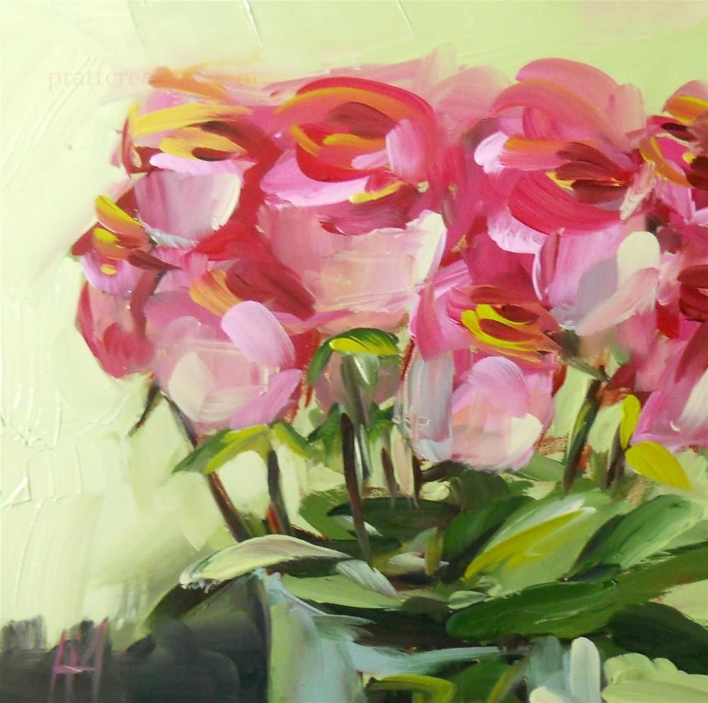 """Pink Roses in Vase no. 6 Painting"" original fine art by Angela Moulton"