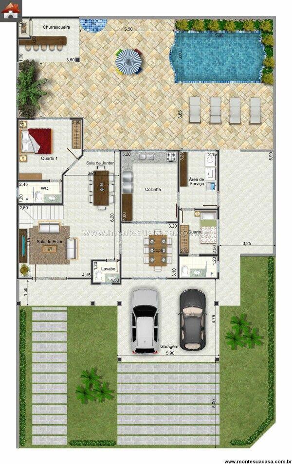 Pin de jhoselin hamel echalar en arquitectos pinterest for Planos de casa con piscina interior