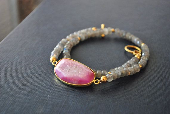 """GREY AND PINK  natural labradorite and agate by TERESAJEWELRY, $95.00     www.teresajewelry.etsy.com   NOW ONLY 20%OFF WITH CODE """"PINFAN"""" !!!!!"""
