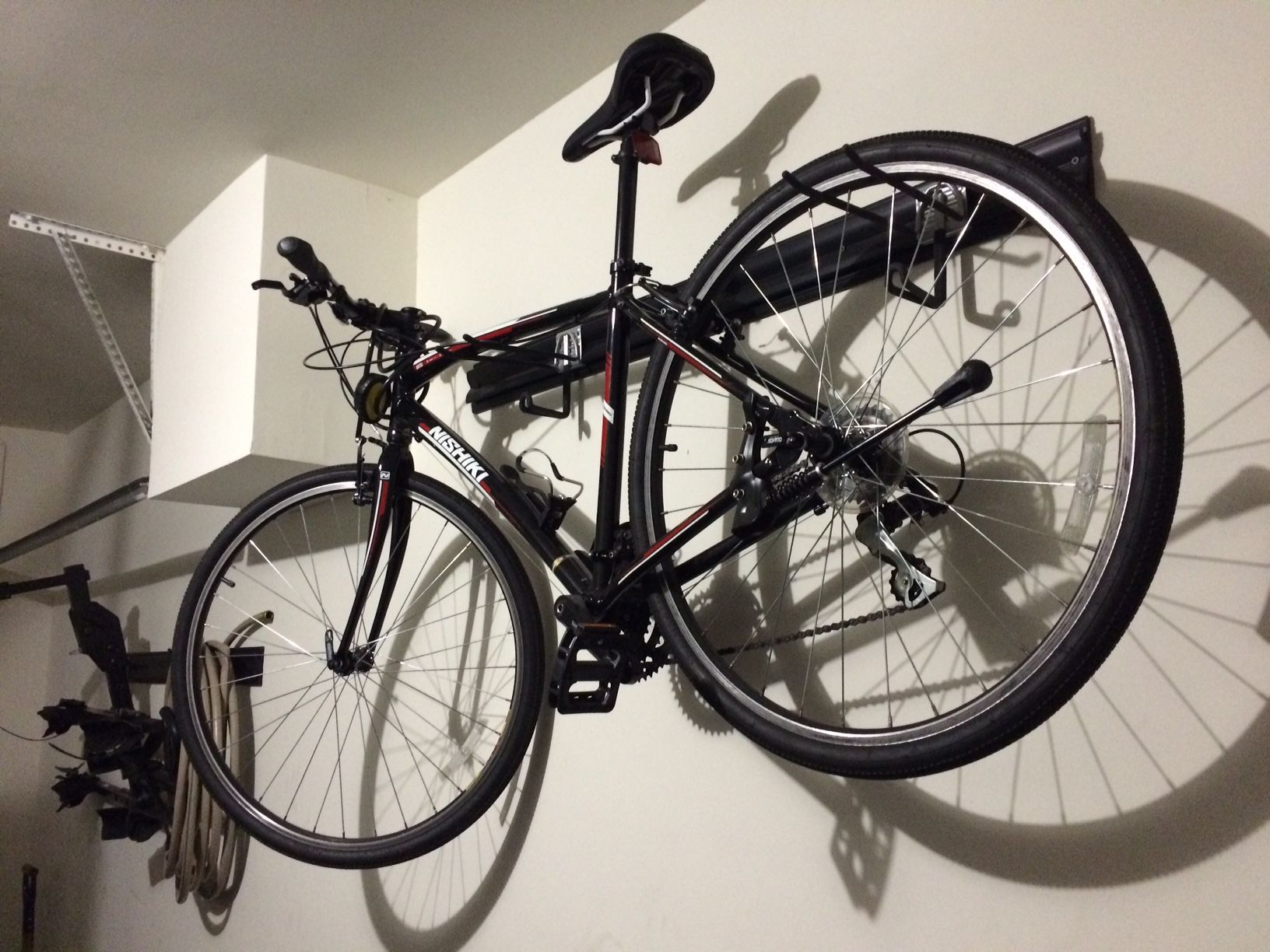 Bike Rack For The Garage Garage Bike Racks Diy Using Kobalt K Rail And Hook Storage System