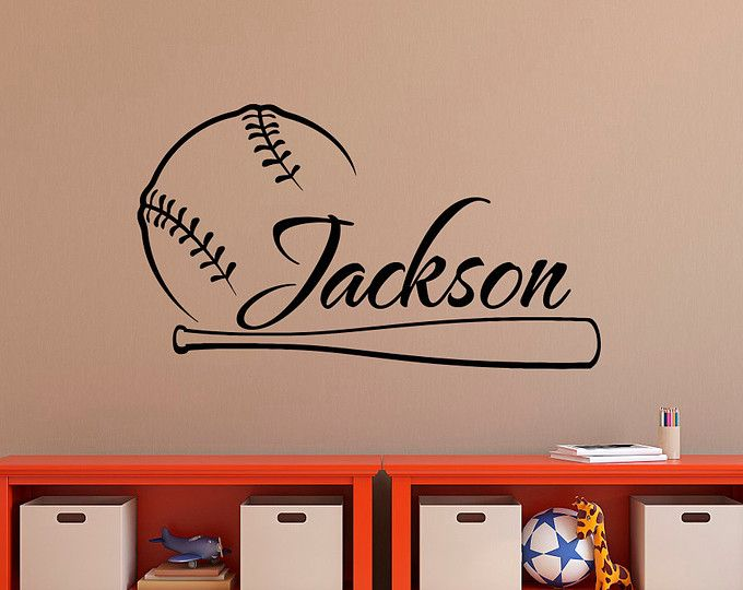 Personalized Baseball Wall Decal Nursery Name Decal Baseball Etsy In 2021 Baseball Wall Decal Sports Wall Decals Nursery Wall Decals Boy