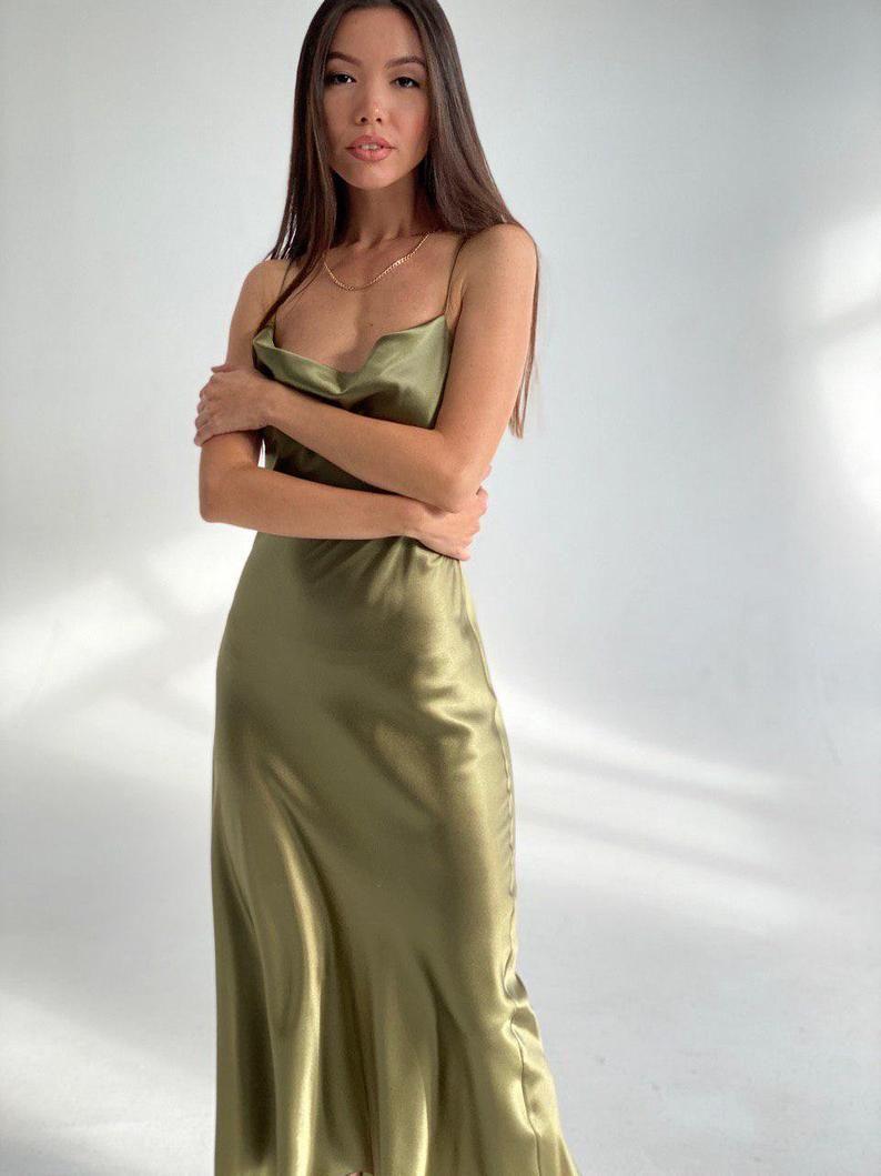 green slip dress silk