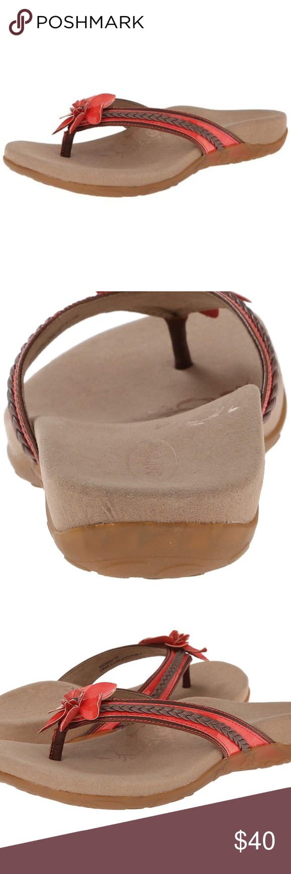 25aed574981 Aetrex Selena Coral Flower Thong Sandals 7 Aetrex Selena is a casual women s  thong style flip