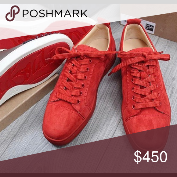 6865ca0772f 🔴❤️Christian Louboutin Junior Low Red Suede🔴❤ ❤ 🔴 100 ...