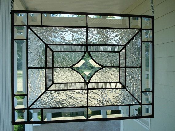Beveled Star Clear Textures Stained Glass Window Panel Size