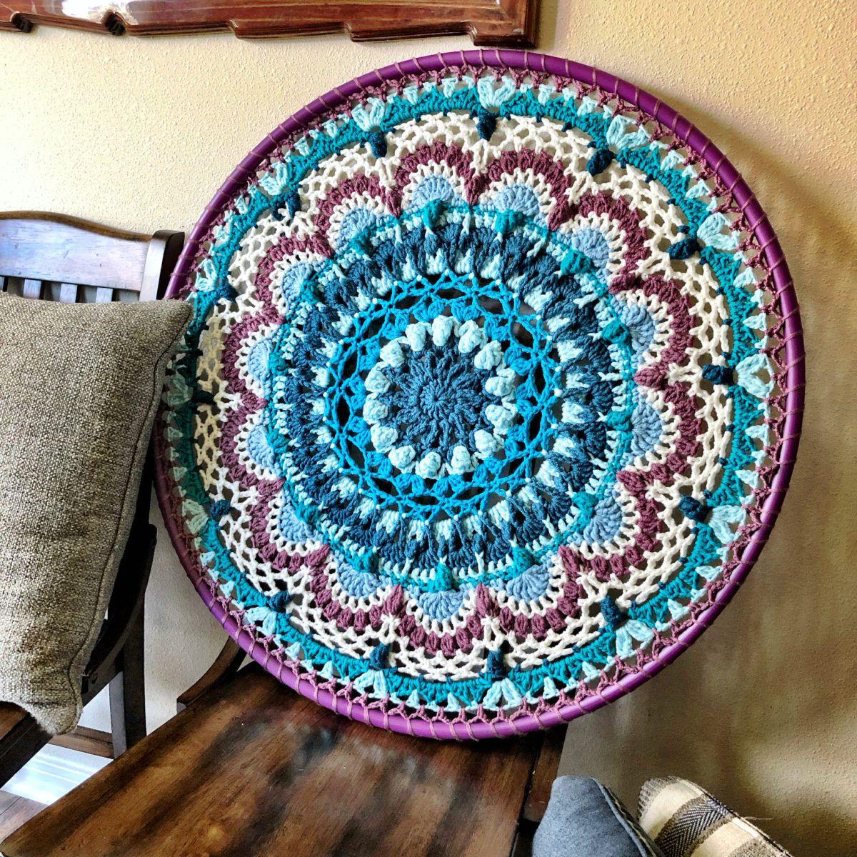 Free Crochet Pattern: Namaste Hula Hoop Mandala (Aran Wt.) - cypress|textiles