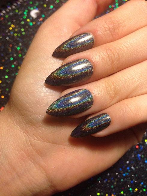 Holographic Black False Nails CHOOSE YOUR SHAPE Set of 20 | Makeup ...