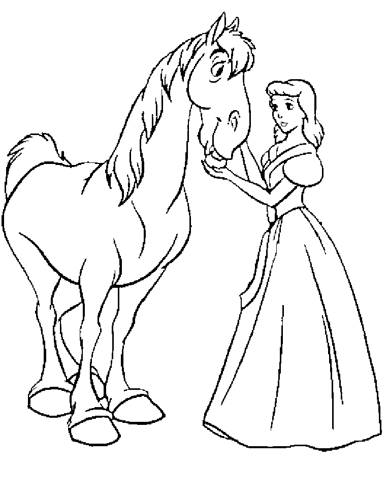 Disney Princess And Horse Coloring Page