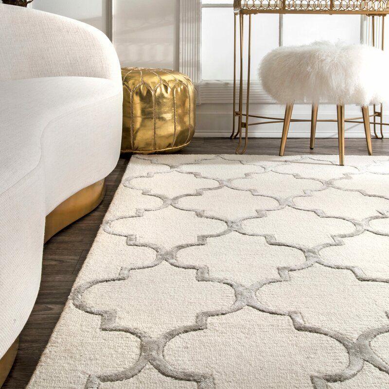 House Of Hampton Noirmont Geometric Handmade Tufted Ivory Area Rug Reviews Wayfair In 2021 Rugs On Carpet Wool Area Rugs Area Rugs