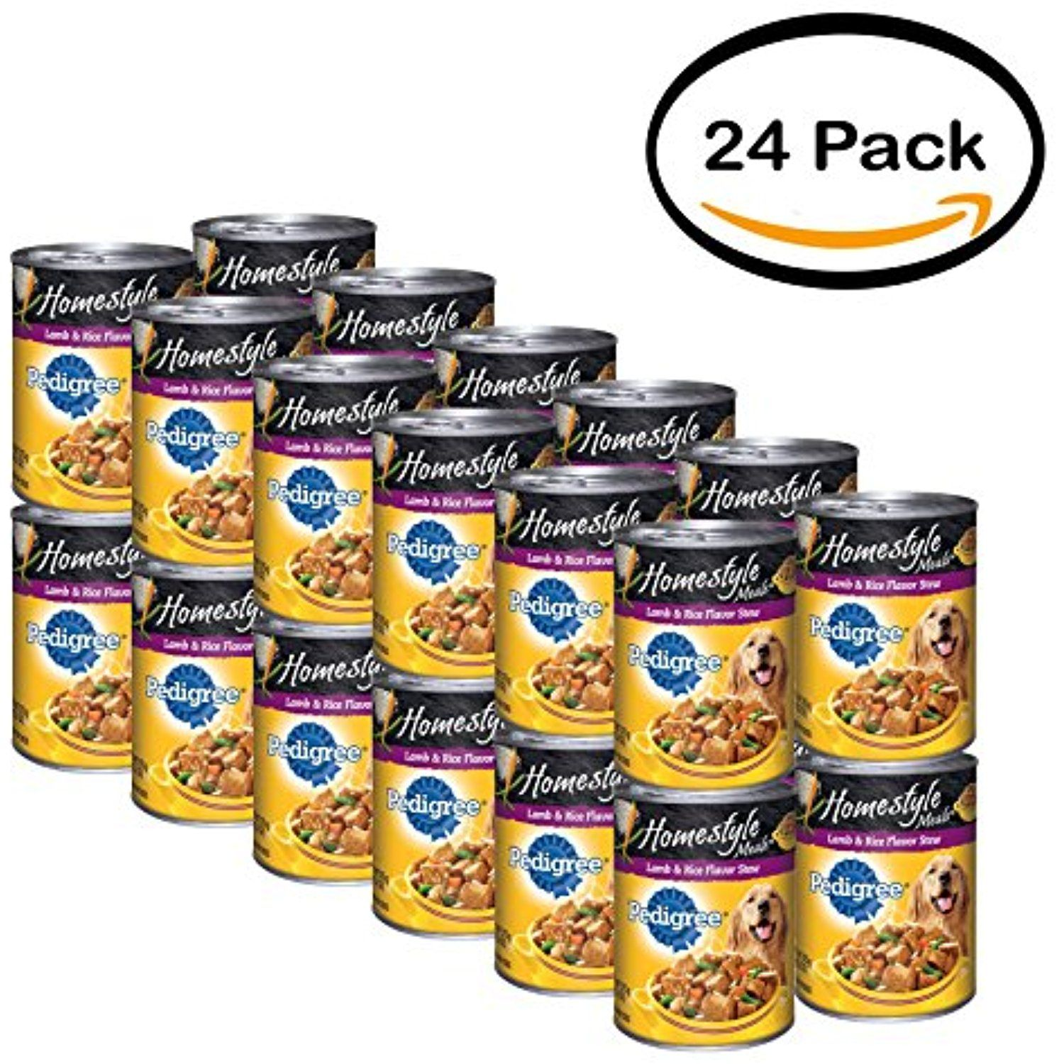Pack of 24 pedigree homestyle meals lamb rice flavor