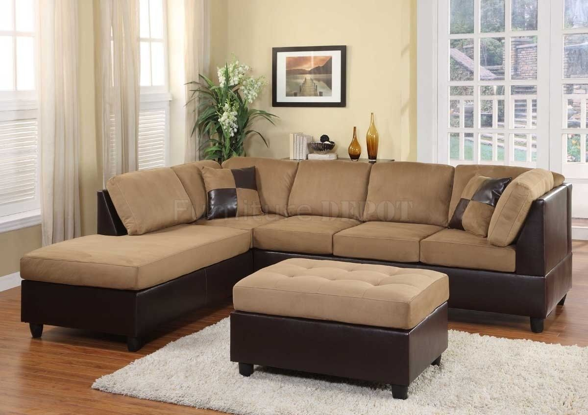 Leather And Suede Sectional Sofas Brown Sectional Sofa