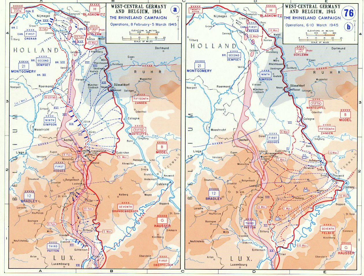 Map depicting the Allied advance to the Rhine River in West – Belgium Rivers Map
