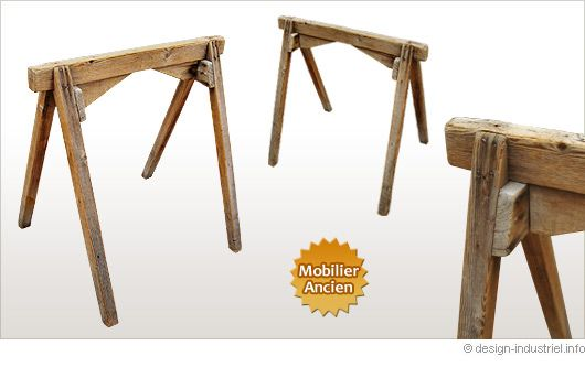 Treteaux anciens en bois furniture pinterest tréteaux en bois