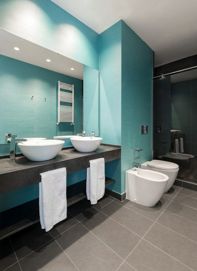 luxus badezimmer im blau und grau aufsatzwaschbecken ... - Luxus Badezimmer Ideen