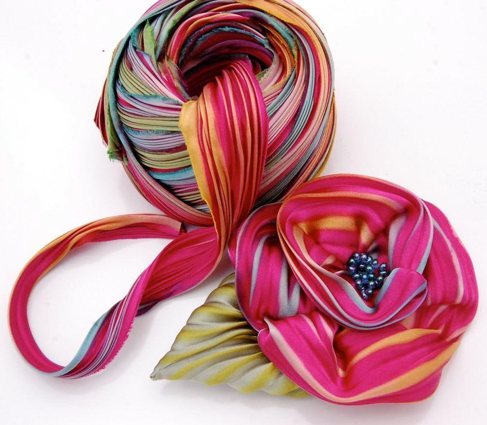 Image of silk shibori ribbon flower brooch kit