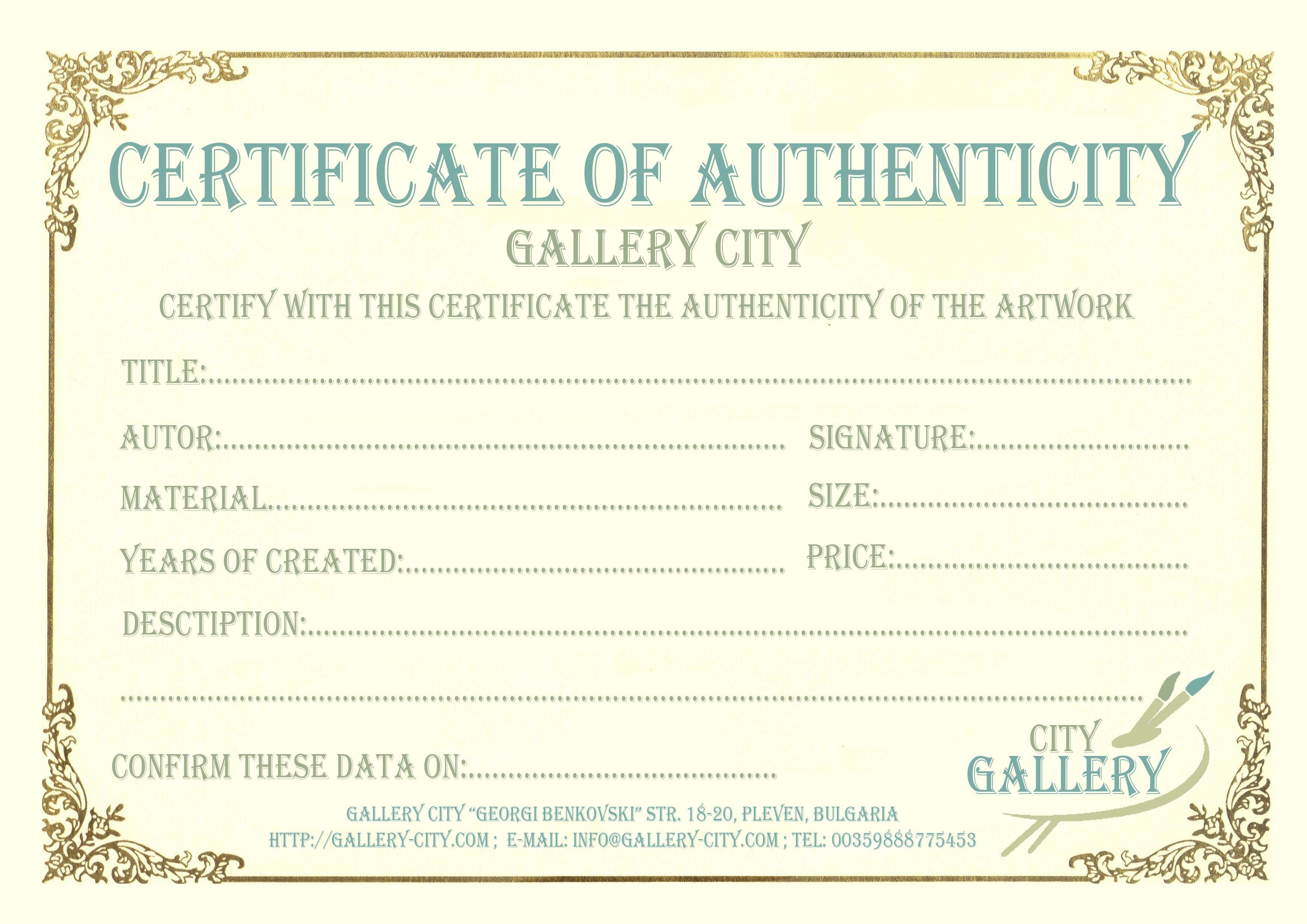 picture regarding Printable Certificate of Authenticity named Certification Authenticity Template Artwork Authenticity