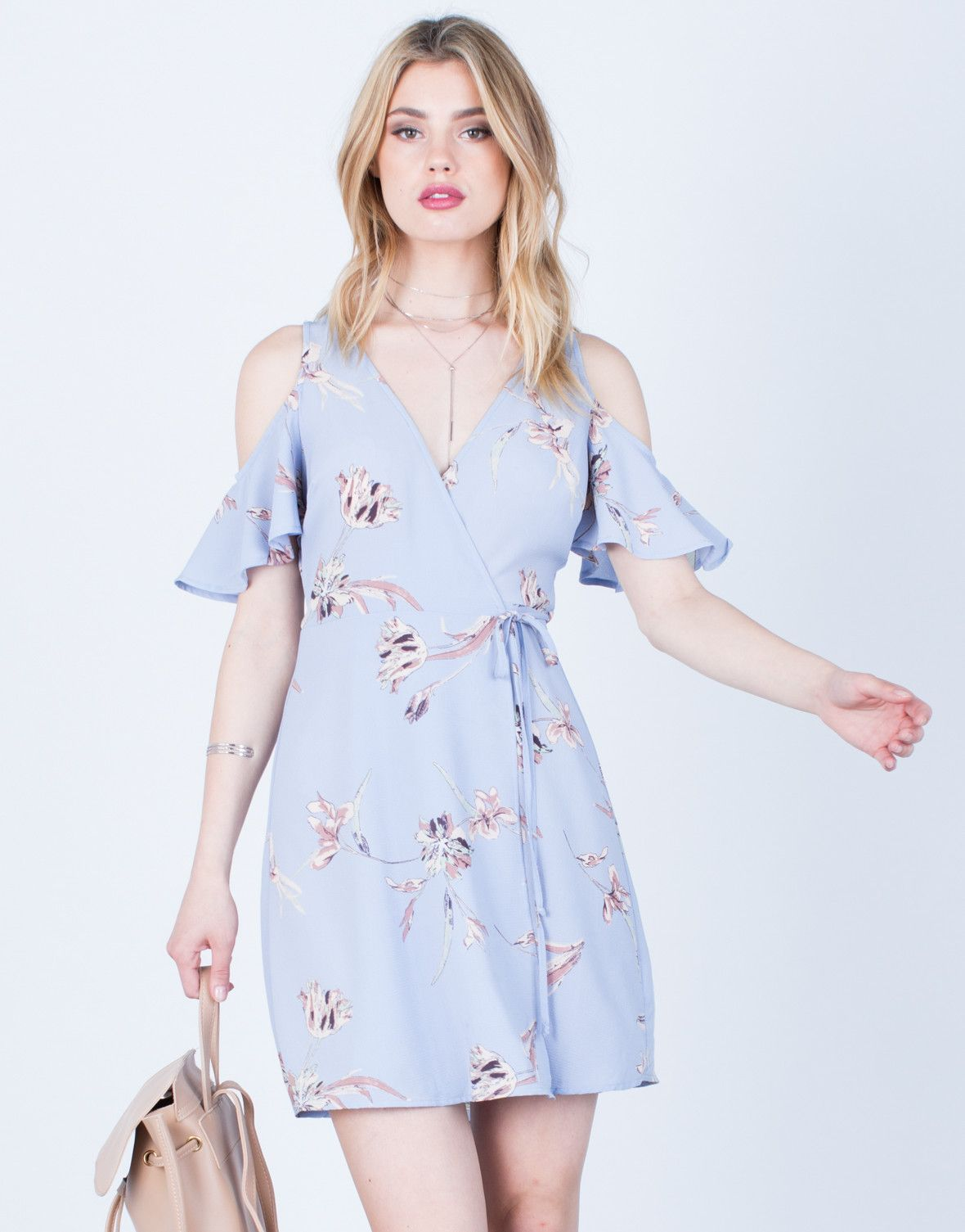 Vacay Wrap Dress - Light Purple Dress - Floral Dress - Wedding Guest ...