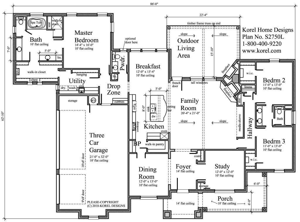 3-car garage, mud room/drop zone, laundry room near master