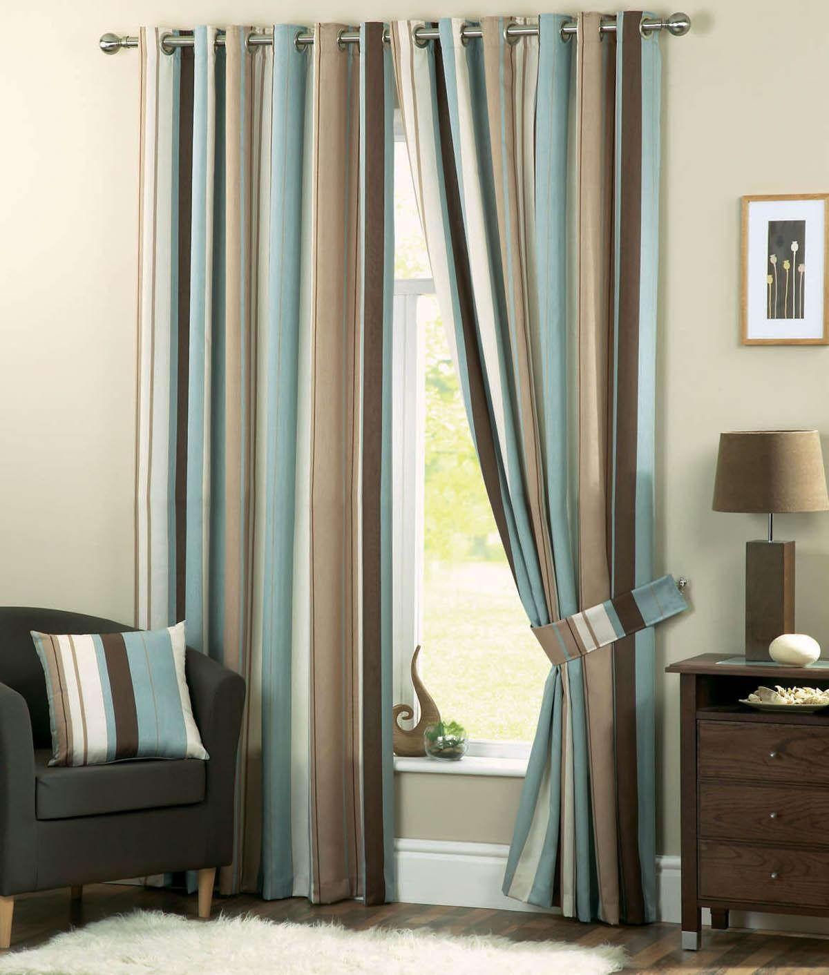 Cool Teal Brown Fabric Modern Striped Window Curtain