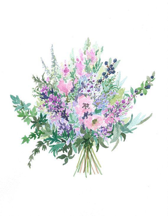Personalised wedding bouquet watercolour painting   MAŁE BUKIECIKI ...