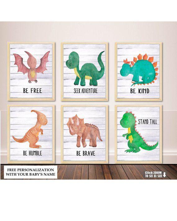 Watercolor Dinosaur Art, Nursery Wall Art, Dinosaur Watercolor Print, Dinosaur Wall Decor, Dinosaur #dinosaurnursery